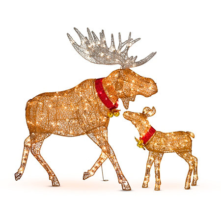 Lighted Glittering Moose Outdoor Christmas Decoration Improvements Lawn Home Decorating Ideas