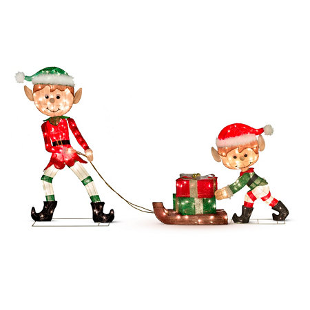 Elves with presents lighted outdoor christmas decoration set of 3 elves with presents lighted outdoor christmas decoration set of 3 improvements aloadofball Gallery