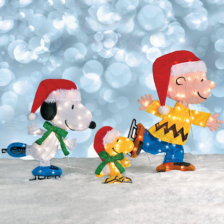 ice skating peanuts lighted outdoor christmas decoration