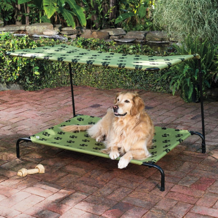 Pet Bed with Shade Frame & Covers-Medium-Nautical Blue | Improvements