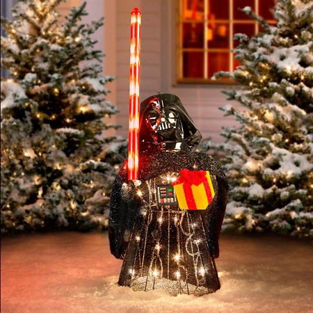 Tinsel christmas star wars characters with gift for Animated tinsel dinosaur christmas decoration
