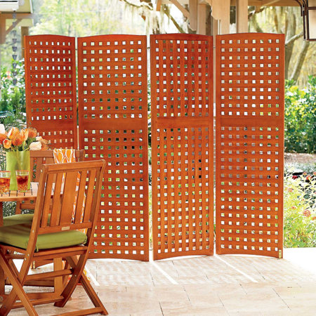 4-Panel Yard Privacy Screens-Privacy Patio Screen-Outdoor Wood ...