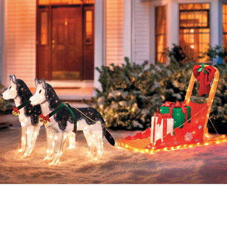 lighted christmas sleigh with 2 huskies