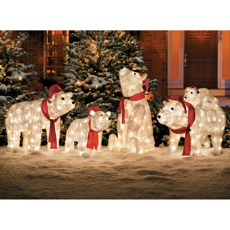 pre lit polar bear christmas decoration set of 3 - Bear Christmas Decorations