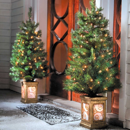 pre lit entryway trees - Outdoor Christmas Trees