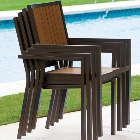 Faux Wood Aluminum Outdoor Chair Set Of 2