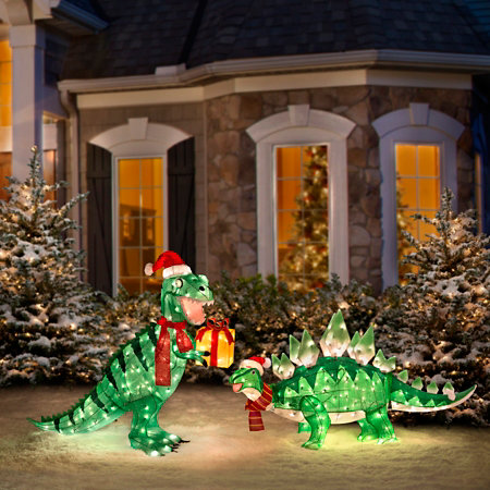 Animated tinsel dinosaur christmas decorations for Animation decoration noel