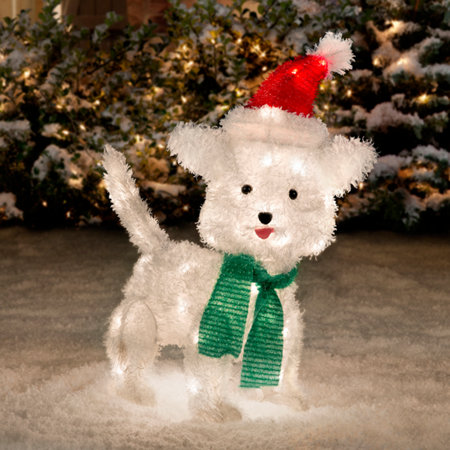 white fluffy dog christmas decoration 22 - Lighted Animals Christmas Decoration