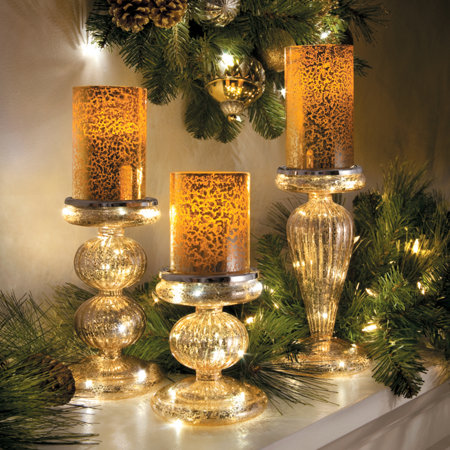 gold mercury glass look candle bases set of 3