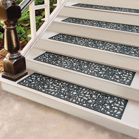 Windsor Scroll Black Rubber Stair Treads amp Door Mat