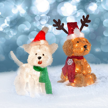 Lighted tinsel dogs outdoor christmas decorations for Dog decorations for home