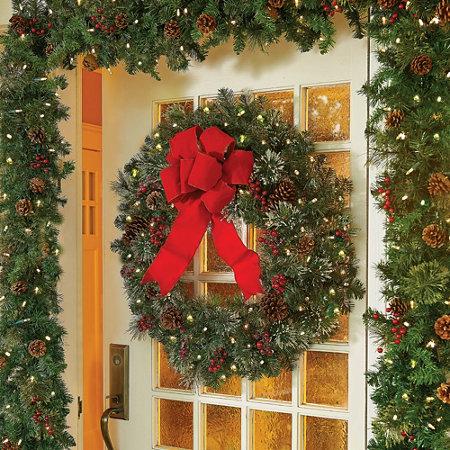 Winter Elegance Lighted Christmas Wreath-30