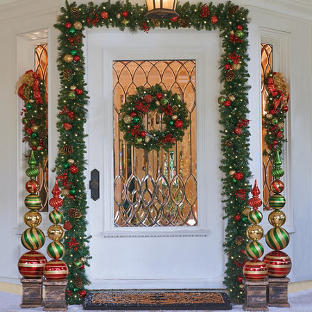 26 pre lit merry bright christmas wreath - Merry And Bright Christmas Decorations