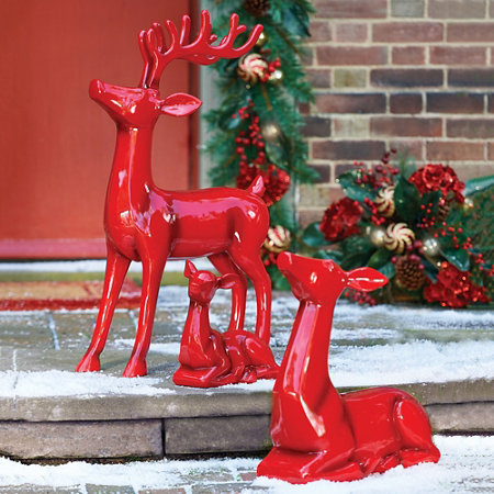 resting doe and fawn christmas reindeer decoration