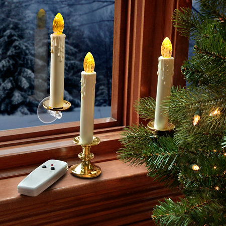 battery operated taper candles with remote set of 5 - Battery Operated Christmas Candles