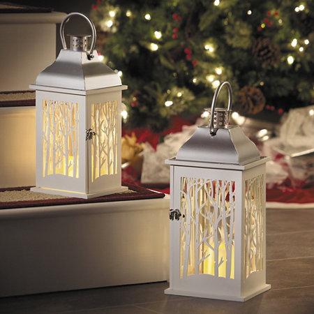 15 winter woods led candle lantern