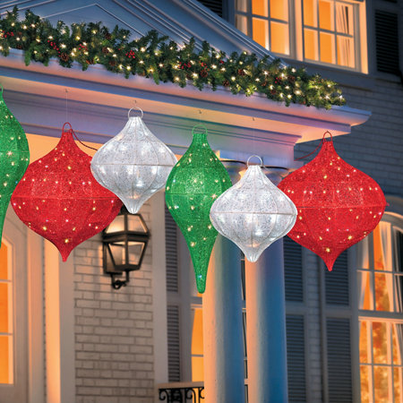 Lighted hanging ornament outdoor christmas decorations improvements lighted hanging ornament outdoor christmas decorations aloadofball