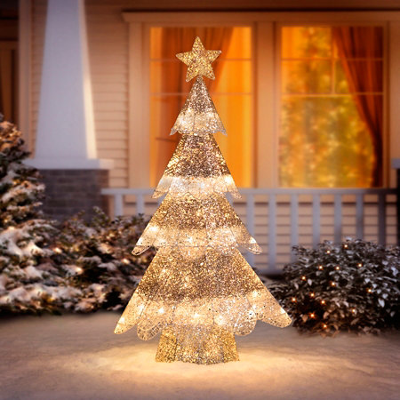 3 Champagne Mesh Glitter Tree Outdoor Christmas Decoration