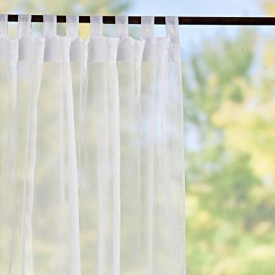 Tab Top Sheer Voile Outdoor Curtain Panels White Improvements